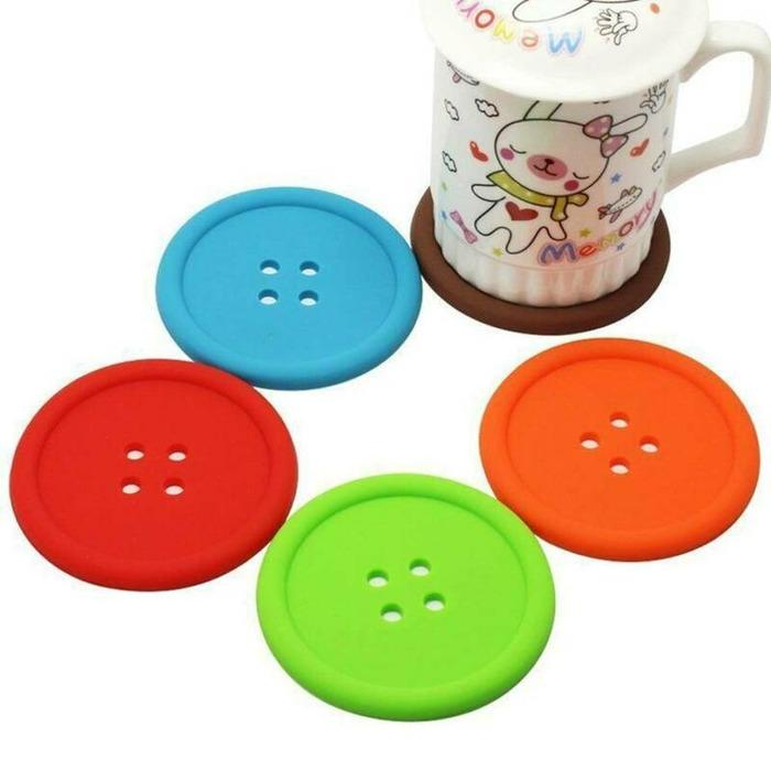Round Silicone Coasters Non Slip Cup Mats Pad Drinking Coffee Tea Mug Coaster