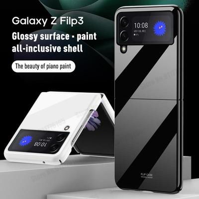 Glossy Piano Paint Phone Flip Case For Samsung Galaxy Z Flip 3 5G Hard PC Phone Protective Cover for Galaxy Z Flip3 5G Ultra Slim Phone Case Capa