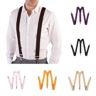 Mens Womens Clip-on Suspenders Elastic Y-shape Adjustable Unisex Braces