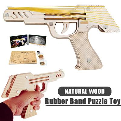 Toys Models 3D Wooden Puzzle - Simulation Bullet Rubber Band Launcher  ,Mechanical Rubber