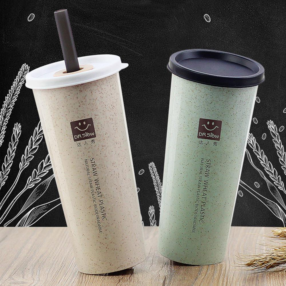 300ML  Travel Mug Office Coffee Tea Water Bottle Cups Straw Wheat Plastic Cup