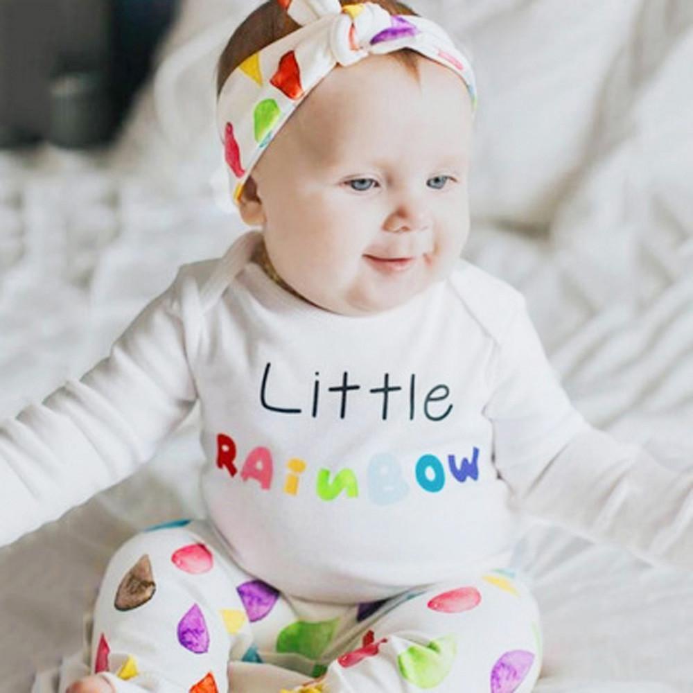 Infant Baby Girls Boys Long Sleeve Letter Raindrops Print Romper Jumpsuit Pants Outfits Set