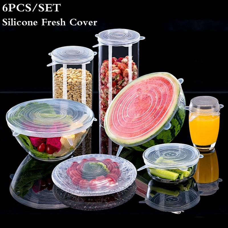 Silicone Stretch Lids 6PCS Silicone Fresh-Keeping Cover Stretchable Multi-Functional Fruit Vegetable Fresh-Keeping Lids for Container Bowl in Dishwasher