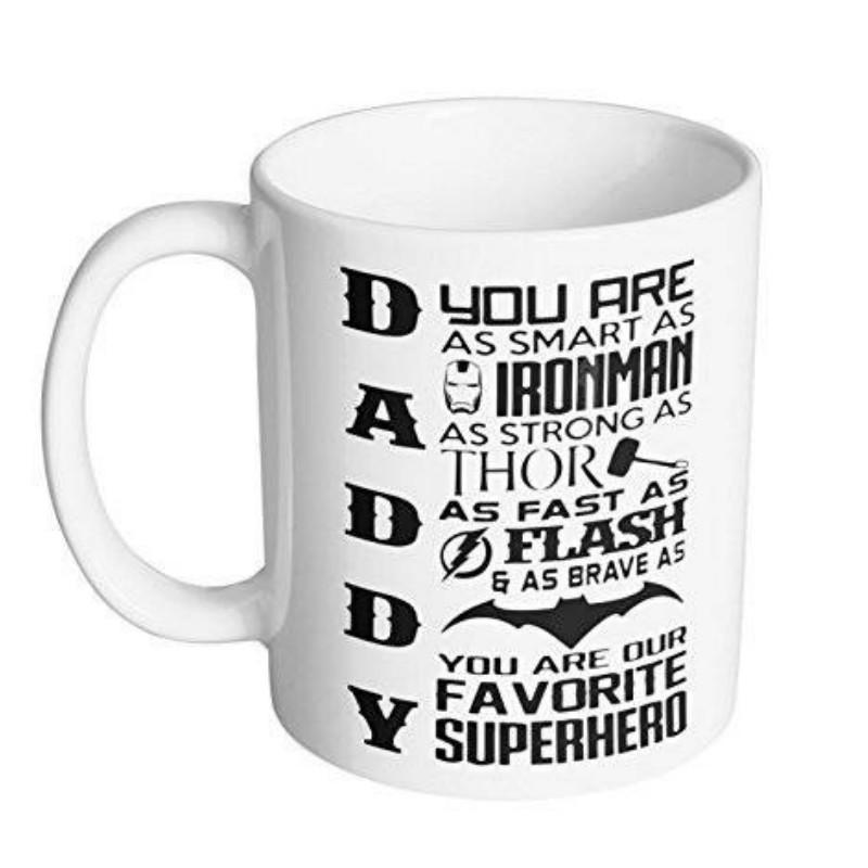 Fathers Day Gift Mug 11oz Daddy Dad Father Coffee Tea Superhero Birthday
