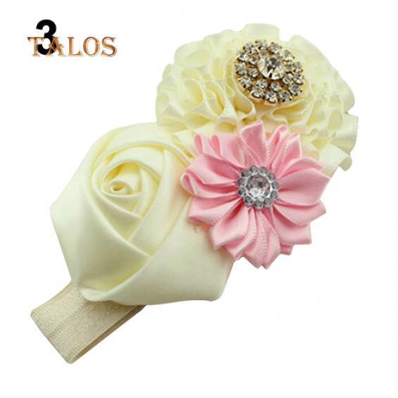 Headband pink satin roses with crystals