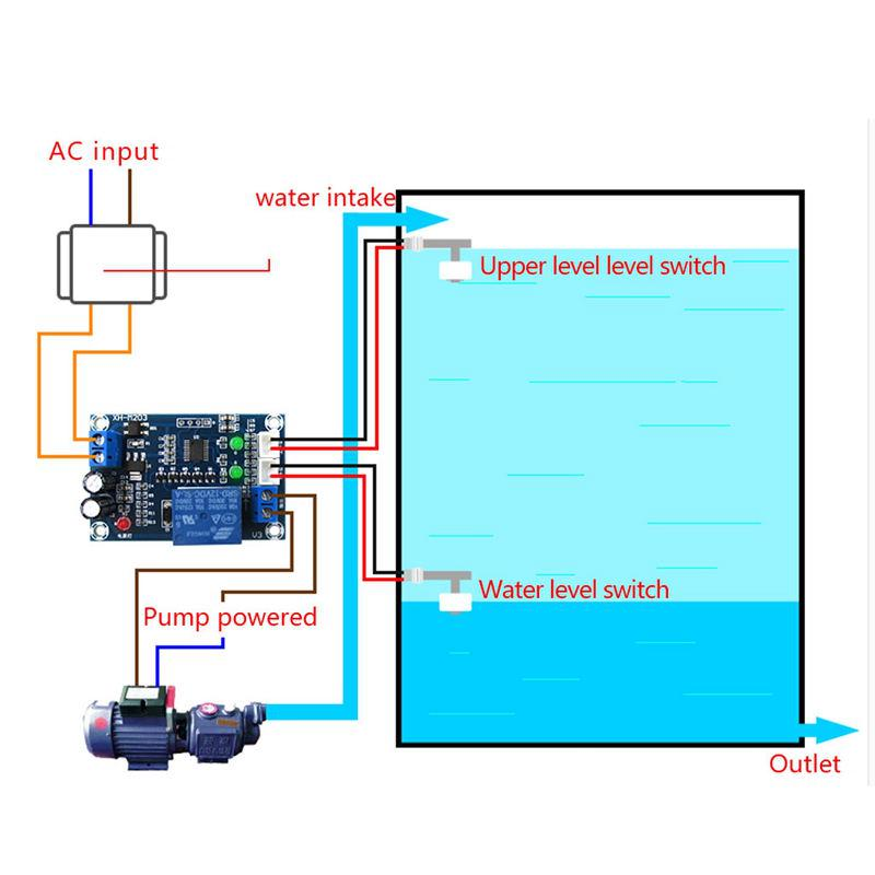 XH-M203 Full Automatic Water Level Controller Pump Switch Module AC//DC 12V Relay