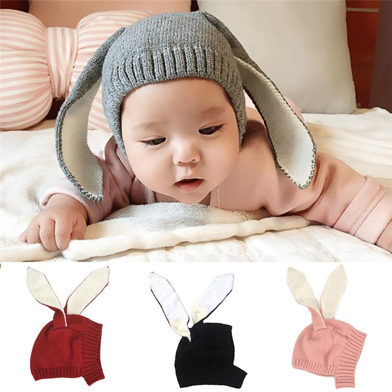 Lindo bebé niños niñas larga orejas ganchillo punto caliente gorros ... 3e751a81ab5
