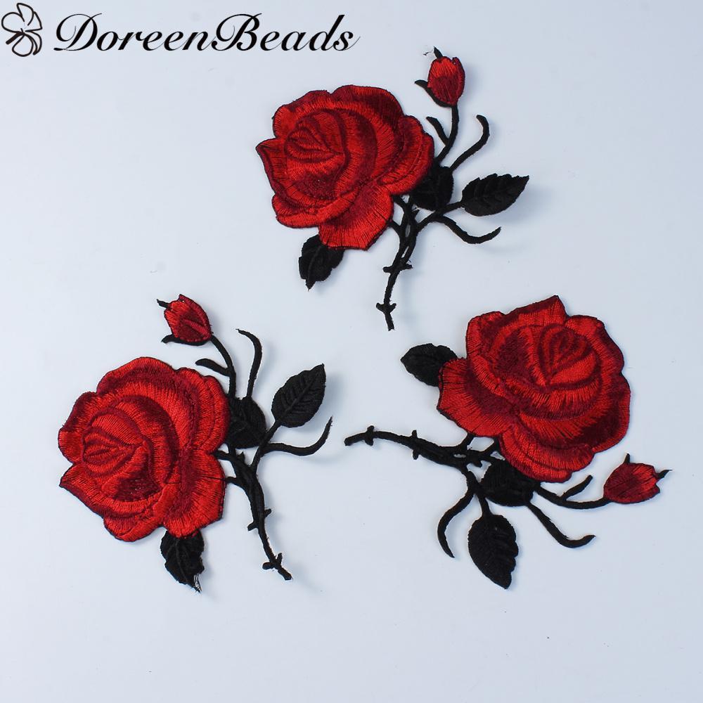 DoreenBeads ткань купол уплотнения кабошон ремесло Роза вино Красное фото