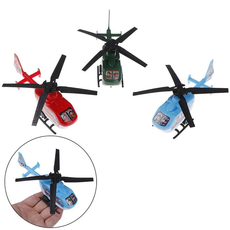 2pcs Pull Back Helicopter Toy Small Rotating Propeller Airplane Kids Toy Gift MC