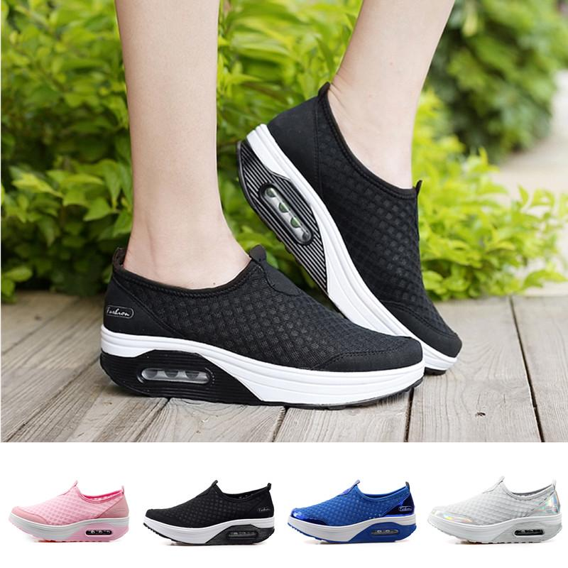 Women Ladies Air Cushion Running Shoes Breathable Light Walking Sneakers Slip On