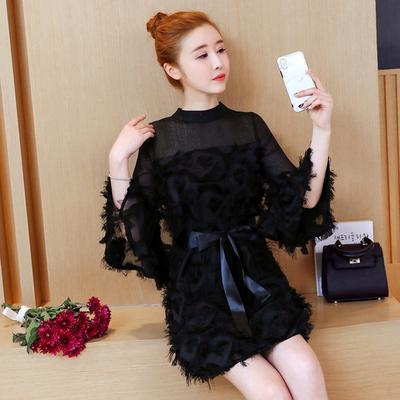 85f2b58bdd6a Платье с длинными рукавами и дамы корейской версии Осенний темперамент юбка  Длинная секция Тонкий