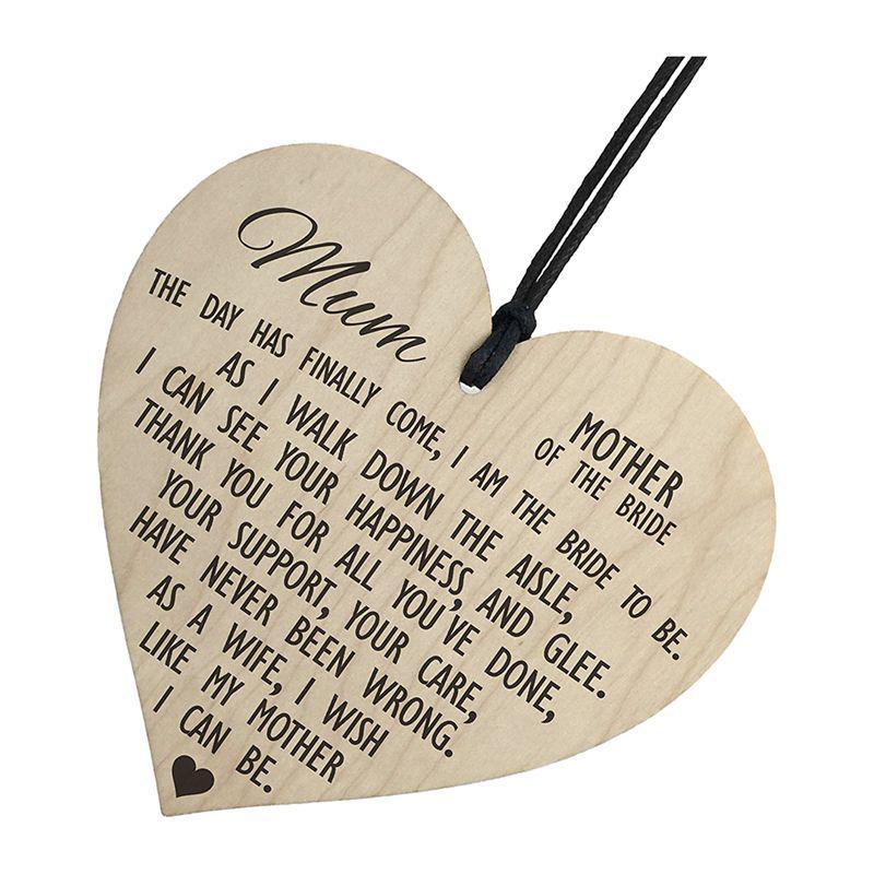 f0ae958341 Madre de la novia como señal de regalo de madera colgante corazón ...