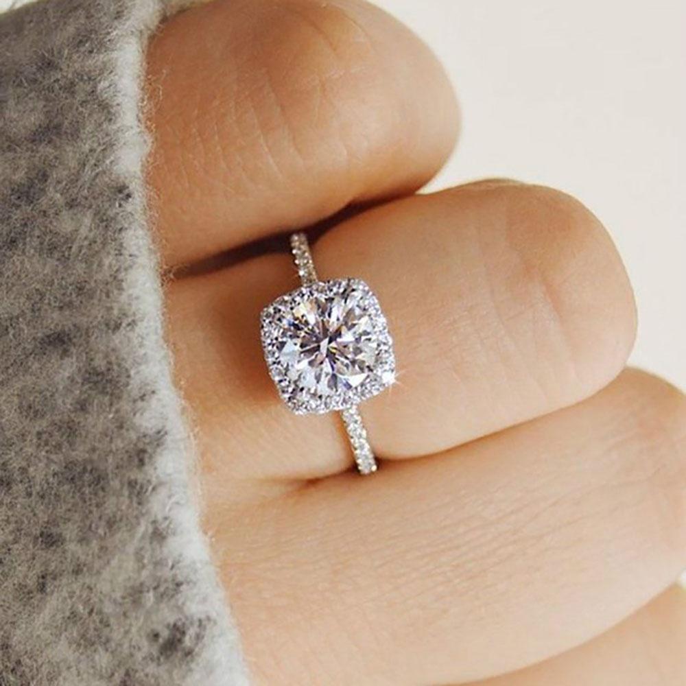 Женщины классической роскоши циркон кольцо прелести обручальные кольца обручальные кольца ювелирные подарок размер 6-10 фото