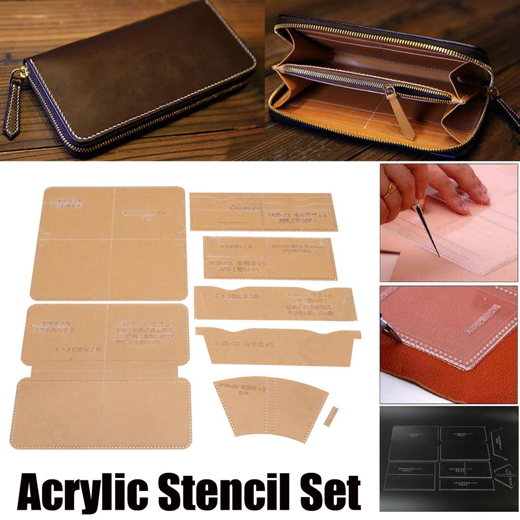 2Pcs Leather Craft Acrylic Clutch Wallet Pattern Stencil Template Tool Set