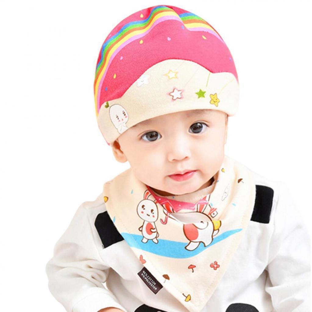 90e8e4e3c6a Baby Boys Girls Cute Rainbow Rabbit Umbrella Print Autumn Beanie ...