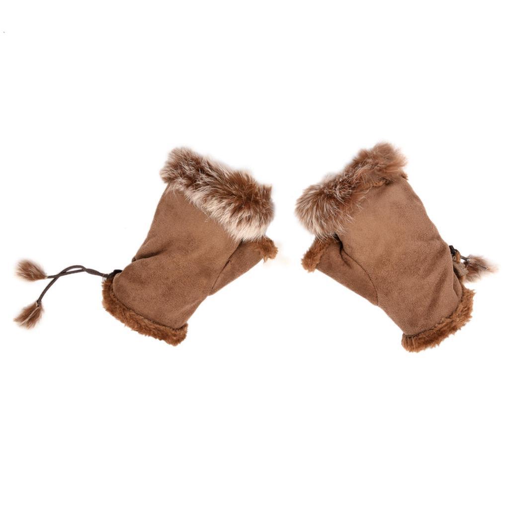 Las mujeres par piel del Faux ajuste muñeca calentador guantes sin ...