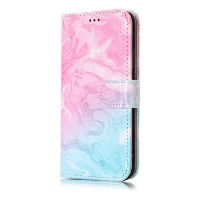 Marble Pattern Flip PU Leather Wallet Card Slots Phone Case Cover for iPhone Samsung