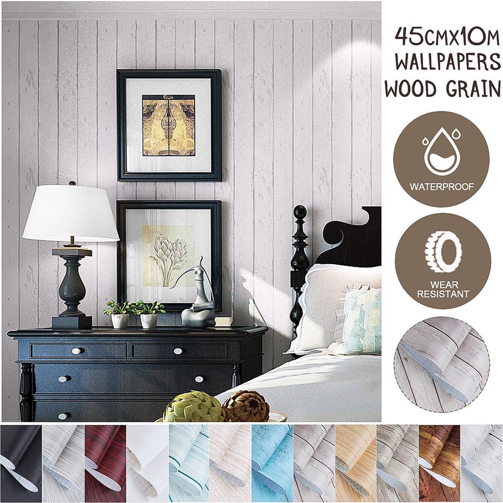 Wood Grain Wallpaper Vintage Wall Mural Art Home Decor Brown Blue Birch Grey