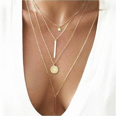 Women Silver//Gold Simple Boho Chain Bib Statement Necklace Moon Star Pendant