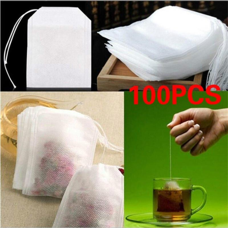 100Pcs/Lot пустой Ароматические чайные пакетики шнурок мешочек мешок 5.5 x 7CM печать фильтр для Кук медицина травы S