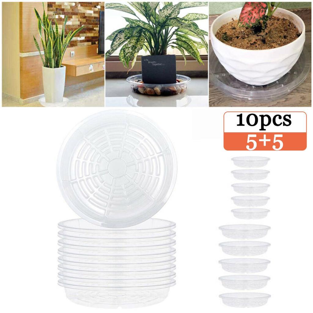 10pcs Plant Pot Saucer Drip Tray Plastic Round Flowerpot Drain Water Tray