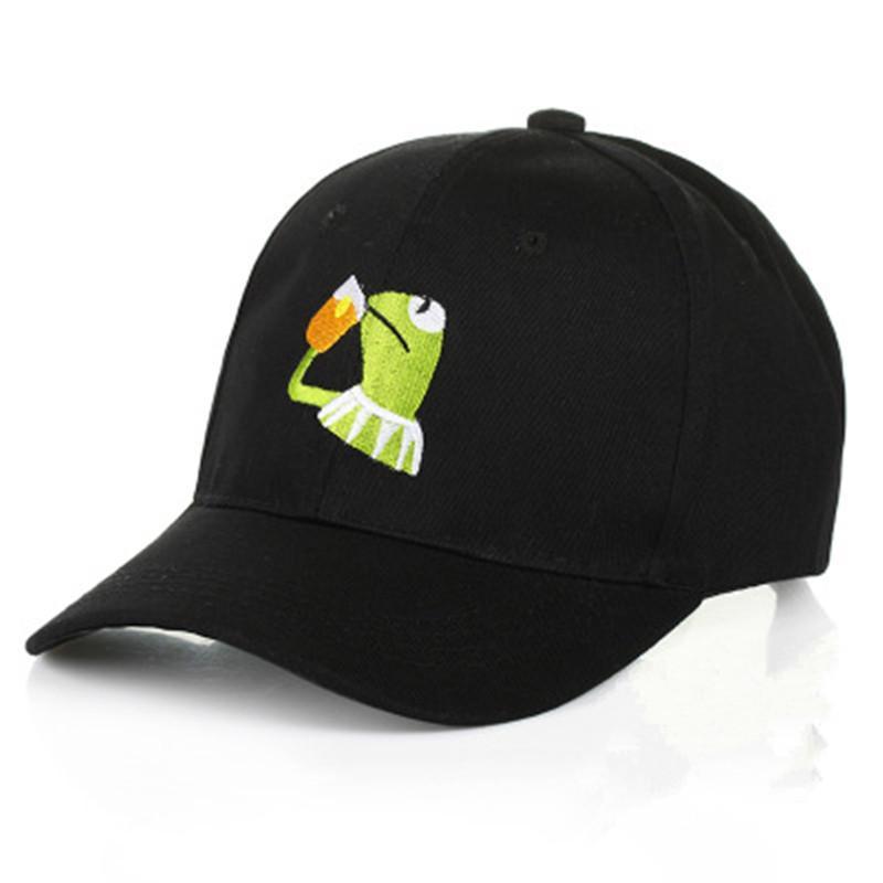 Frog sorseggiando tè tè Kermit cappello Drake ricamo Cap papà ... f20f9342e7ce