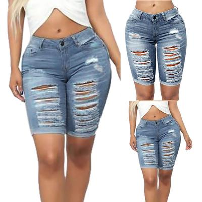 Women Casual Denim Destroyed Bermuda Shorts Ripped  Jeans Pants Five Cents Pants