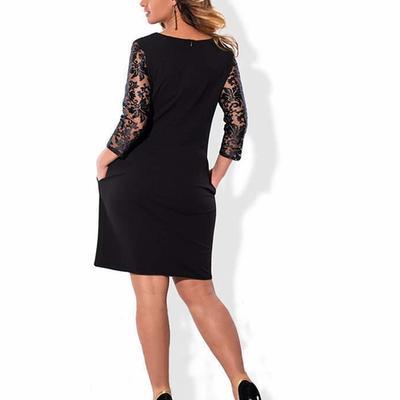 80a2e57dfc5 EVDAY твердых цвета колено длина Женская плюс размер кружева вышитые  элегантное платье wedpC-180108099A17
