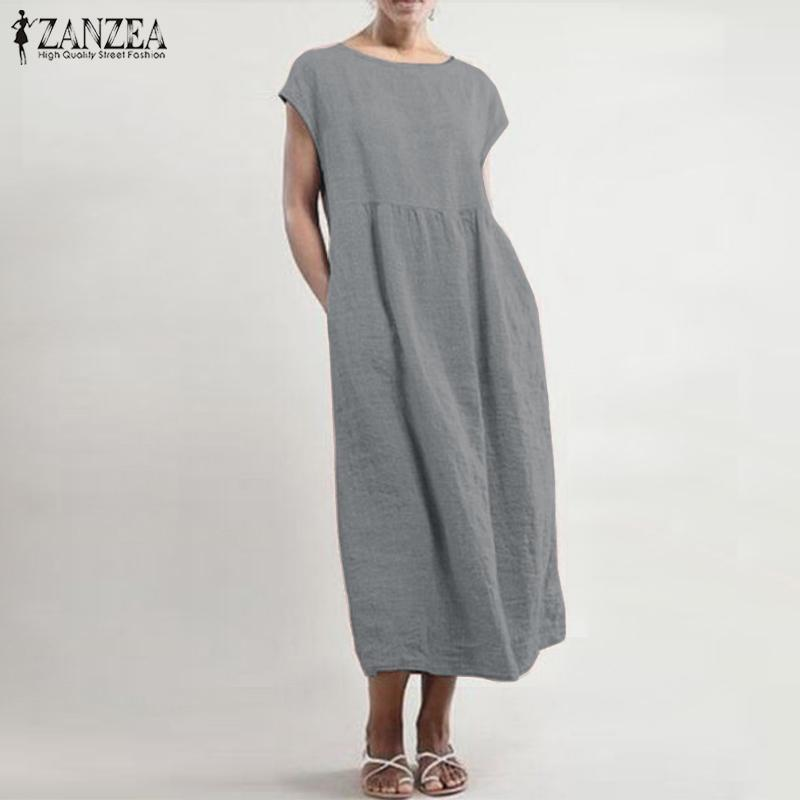 Lovely Women/'s Half Ruffled Sleeves O Neck Solid Casual Stylish Loose Maxi Dress