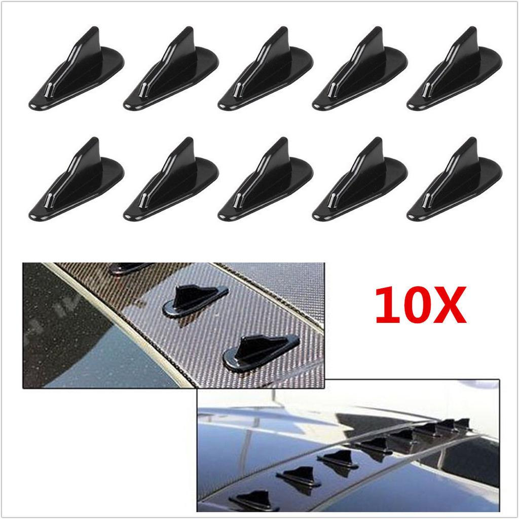10X NEW EVO-Style PP Roof Shark Fin Spoiler Wing Kits Vortex Generator Universal
