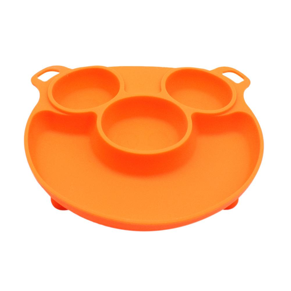 Babys Dinner Plate Portable Bear Paw Dinner Plate Feeding Bowls Tableware with Hanging Hole for Children Babies and Kids BPA Free FDA Approved Baby Dinner Plate Silicone Divided Toddler Plates