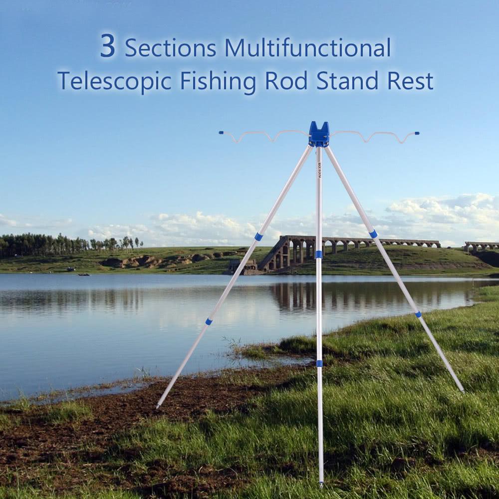 Aluminum Telescopic Fishing Rod Tripod Stand Rest for Sea Beach Shore Pier