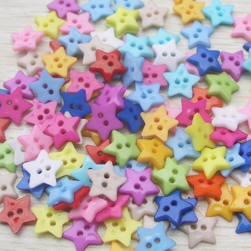 100pcs Vintage Star Shape Wood Buttons 2 Holes Sewing Scrapbooking Craft DIY