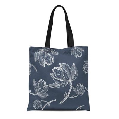 Magnolia Blossoms Tote Shopping Bag Linen Tote Bag Linen Shopping Bag