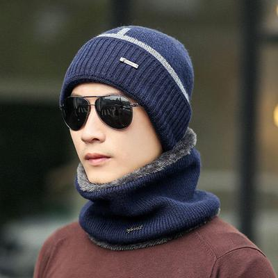 cdd7b41414b Mens Winter Hats Skullies Beanies Hat + O-Ring Scarf Velvet Knitted Warm  Caps Scarf
