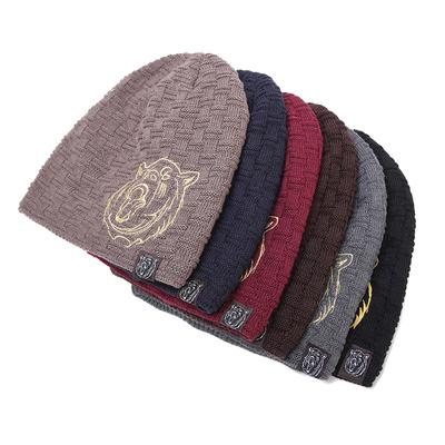 Wool Blends Slouchy Crochet Hat Winter Warm Thick Male Cap Embroidery Angry  Tiger Label Knitted Hat 1221ed0329eb