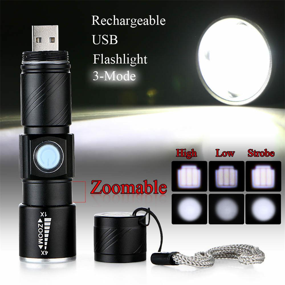 RECHARGEABLE Zoomable Focus Q5 LED 100000Lm USB Flashlight Torch Lamp