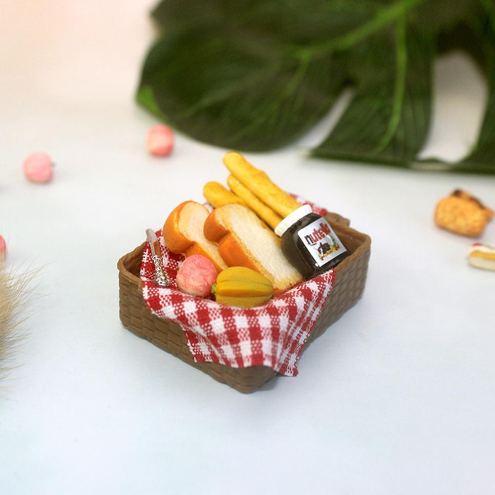 1:12 Dollhouse Miniature Breakfast Set Bread Basket Doll House Food AccessoriP1