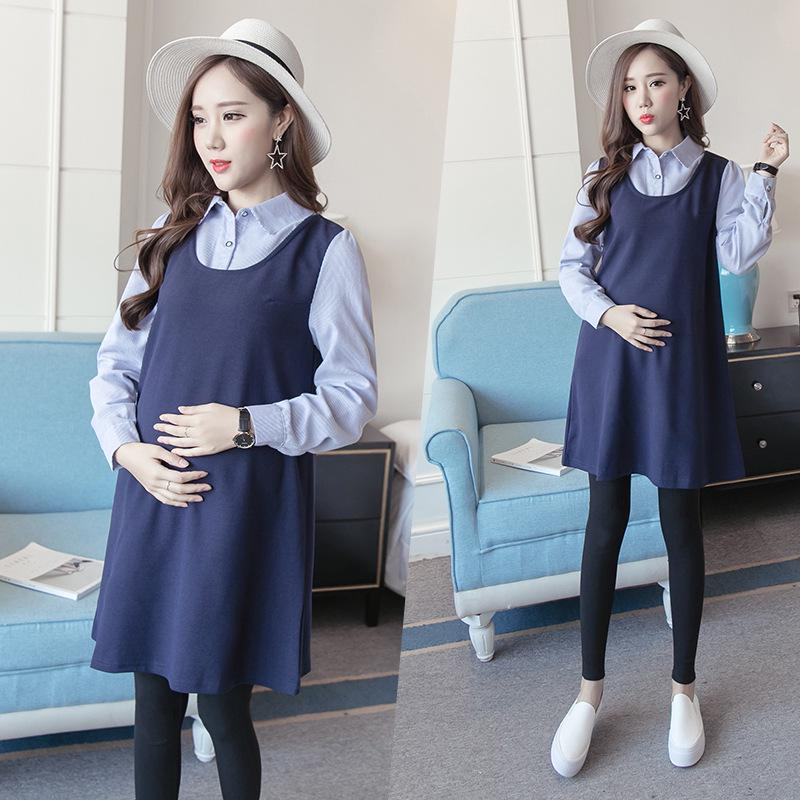 d96452e459db2 Maternity Clothing Pregnant Women Strapless Dress Embroidery Shirts Short  Sleeves Turn-down Collar Long Loose Pregnant Women Blouses Nice Pregnancy &  ...