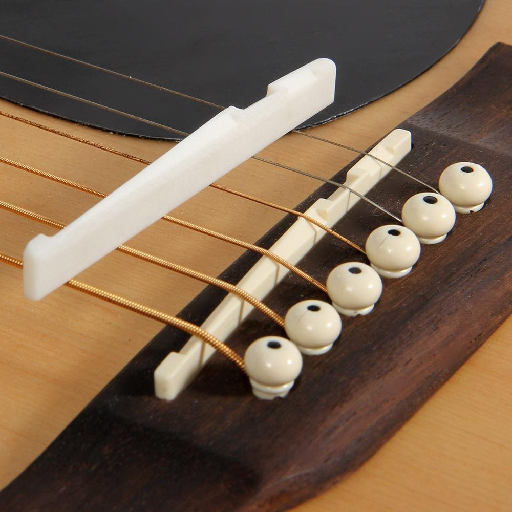 Estone New Guitar Parts 6 String Classical Guitar Bone Bridge Saddle And Nut Ivory Set