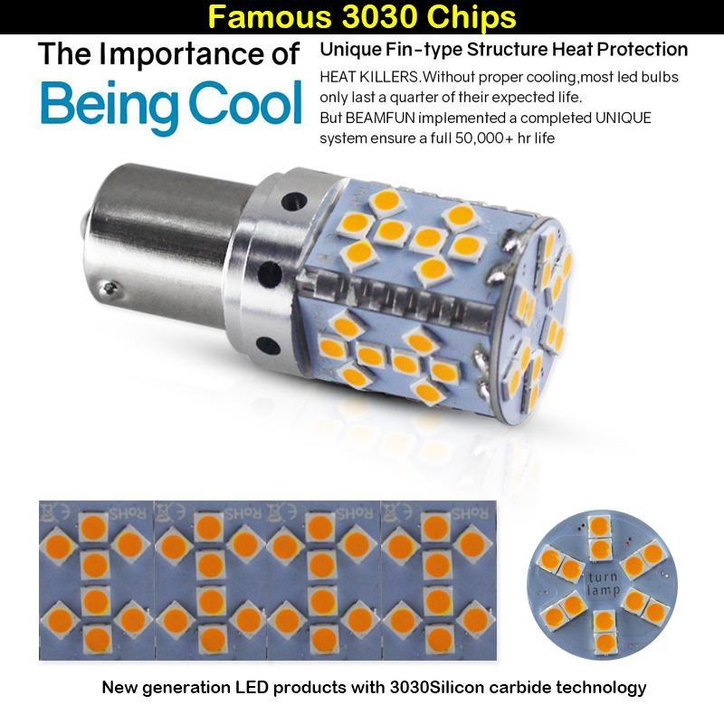 2X High Power 3535 Chip 7443 Switchback LED Turn Signal Light Bulbs+Resistors