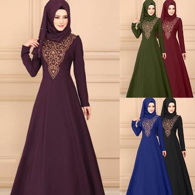 4fb6fb503c Muslim Dress Long Sleeve Women Elegant Long Dress Casual Tunic Islamic  Dresses Loose Party Dresses