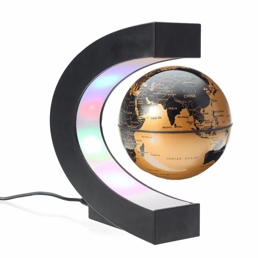 LED C Shape Magnetic Levitation Floating Globe World Map Night Light Decoration