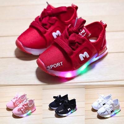Toddler Baby Girs Boys Led Light Shoes Kids Soft Luminous Sport LED Shoes