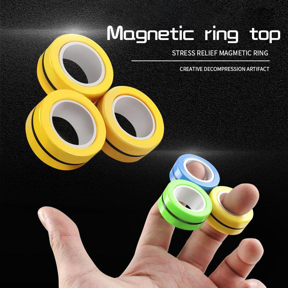 Stress Relief Reducer Spin for Adults Children Kids EDC ADHD Magnetic Bracelet Ring Unzip Toy Magical Anxiety Ring Tools Finger Magnetic Rings Toys 2020 Upgrade Magnet Toy Finger Fidget Toy