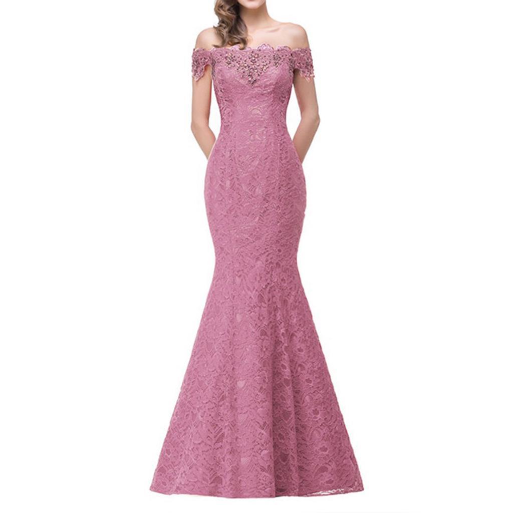 Sexy vestido mujeres moda encaje Patchwork Sirena Vestido de noche ...