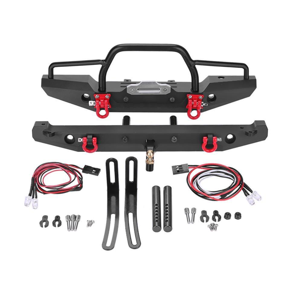Parachoques trasero de metal Luz LED Partes de autom/óviles RC Accesorios para escala 1//10 Axial SCX10 Traxxas TRX-4 D90 RC Rock Crawler-Negro-1 Tama/ño