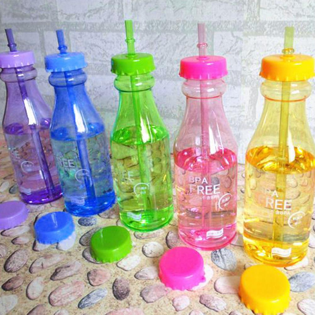 Portable Sport Travel Plastic Fruit Juice Water Bottle Cup with Straw JM