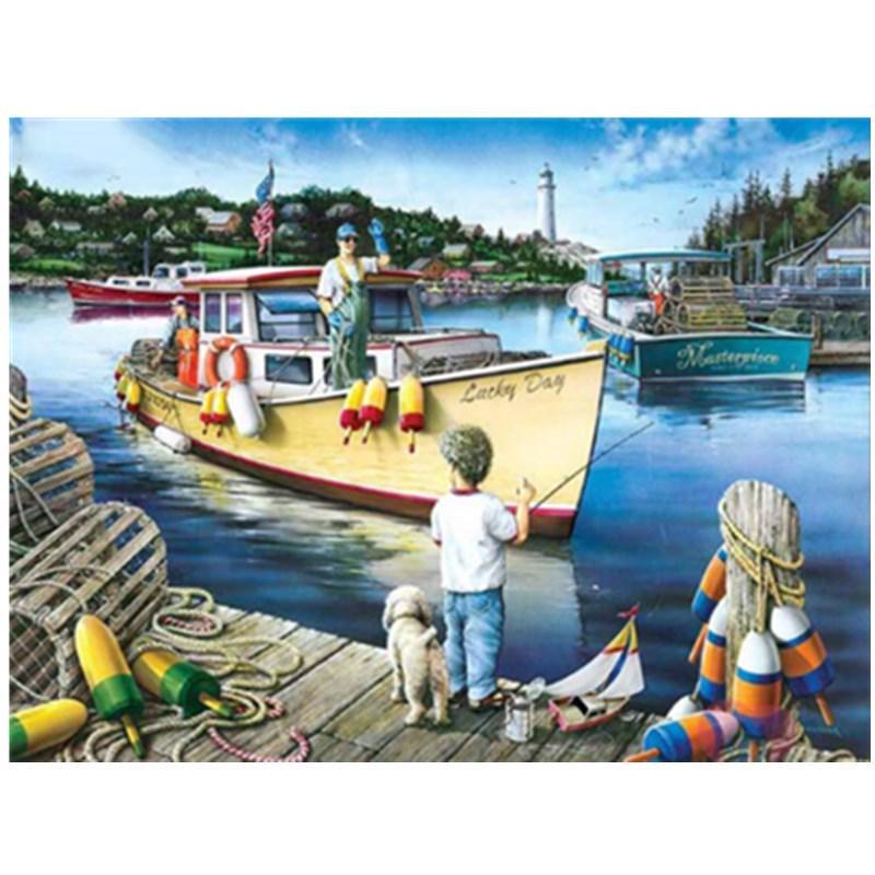 5D DIY Diamond Painting children fishing SquareRound Resin Drill Embroidery Full display Cross Stitch Rhinestone Art seaside