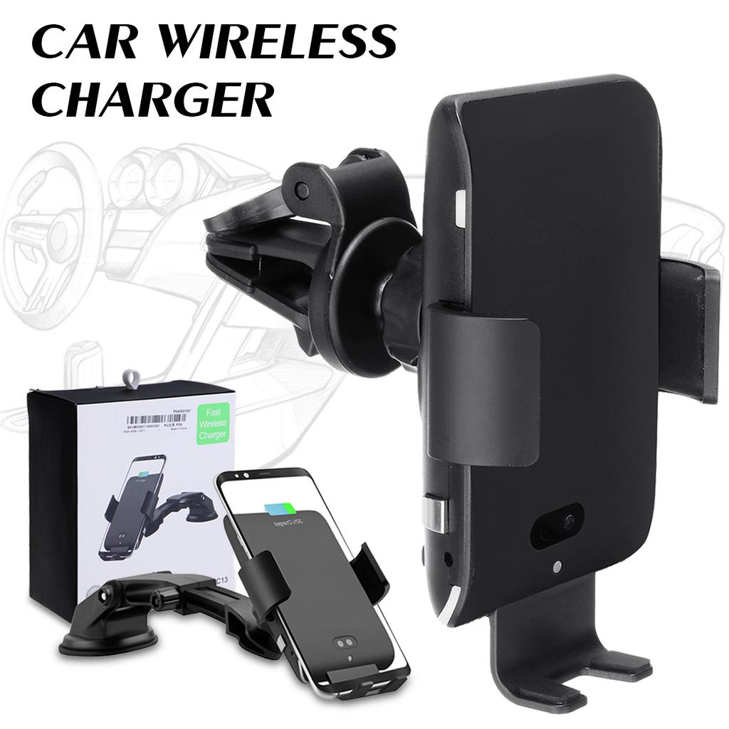 Fast Charging Wireless Charger Car Phone Holder Auto Gravity Clamping Smartphone Black XUNMAIF ELE Fast Wireless Car Charger Mount